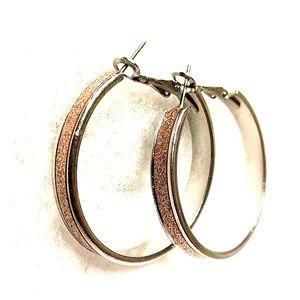 Pink sparkiing hoop earrings
